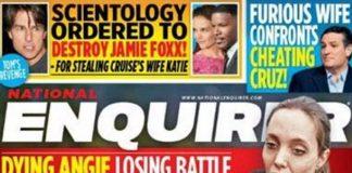 Fuerte tapa de una revista que muestra a Angelina Jolie su extrema delgadez.